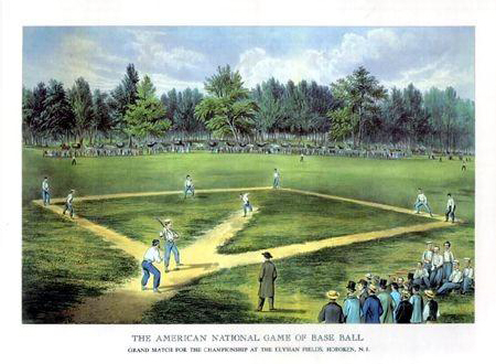 illustration of a baseball game circa 1900